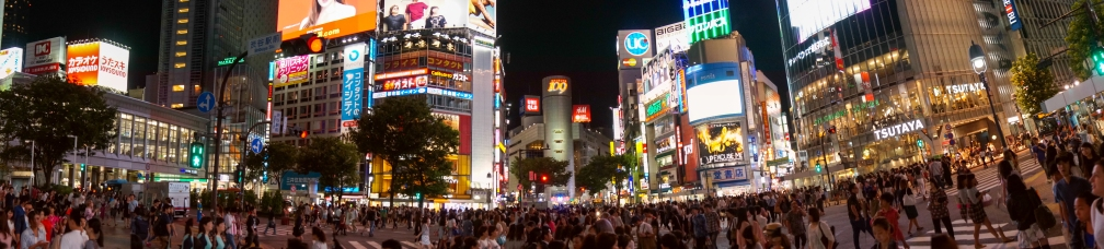 A Shibuya crossing panorama